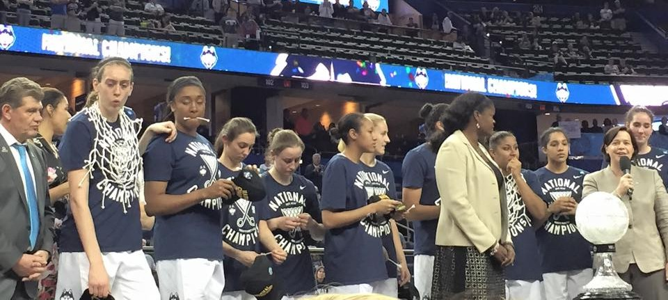 UConn awaiting their trophy presentation.