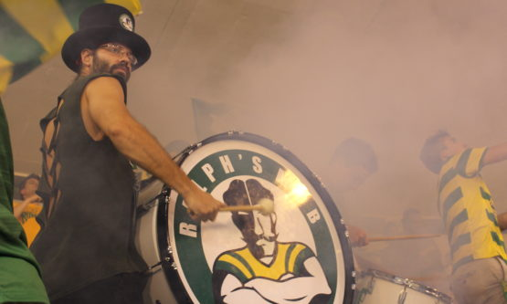 Bang, Bang: Aron Retkes, the band director for Ralph's Mob beats on the drum at the game on Saturday. The Rowdies won 2-0.