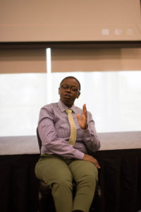 Raising Awareness: J. Danee Sergeant, a member of the Active Minds Speakers Bureau, and a current graduate student at Fordham University, talks to USFSP students about the importance of opening up the conversation surrounding mental health.
