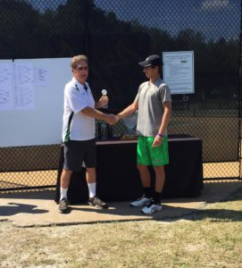 Peter Bertran receives runner-up trophy after loss to Jordan Belga in the Bedford Cup final on Sunday, September 26, 2016.