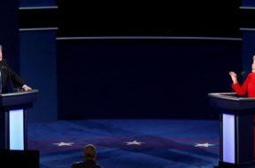 Democratic U.S. presidential nominee Hillary Clinton and Republican U.S. presidential nominee Donald Trump speak during their first presidential debate at Hofstra University in Hempstead