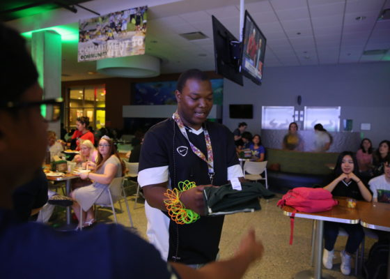 At the annual Late Night Breakfast, students like Quan Jones answer trivia questions in order to win t-shirts and other prizes. Photo By Nick Perkins | USFSP Connect