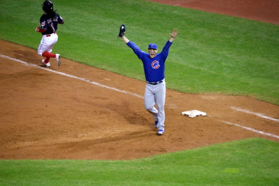 Cubs first baseman Anthony Rizzo celebrates the final out of the 2016 World Series. (Courtesy of Courtesy of Arturo Pardavila III)