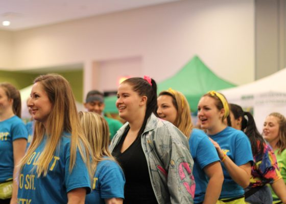 "Mambo Money: Led by USFSP senior Cynthia Wyre, the marathon's ""morale team"" prepared and taught students an energizing dance routine that incorporated songs from various decades starting with the 1960s during last year's Miracle Dance Marathon. (Tamiracle Williams 