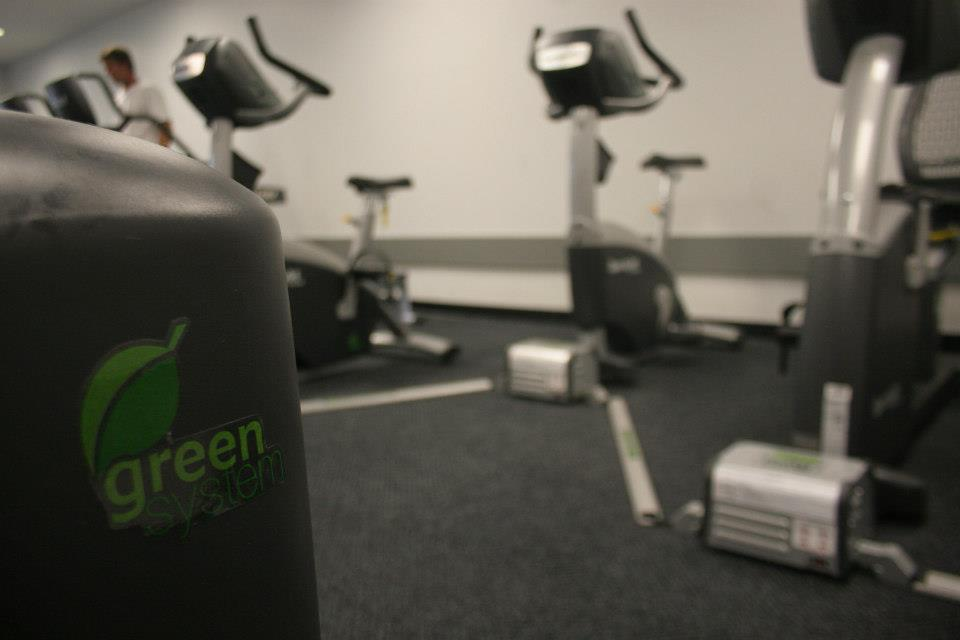 Power Pedaling: One of SGEF's recent accomplishments was adding power-generating cycling equipment to the gym in the SLC. Courtesy of Student Green Energy Fund