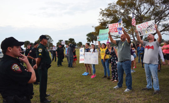 Liberal tears: Protesters antagonized Trump supporters at a post-election rally in Melbourne, FL last weekend. Jonah Hinebaugh | The Crow's Nest