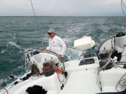 Jopie on the helm 1