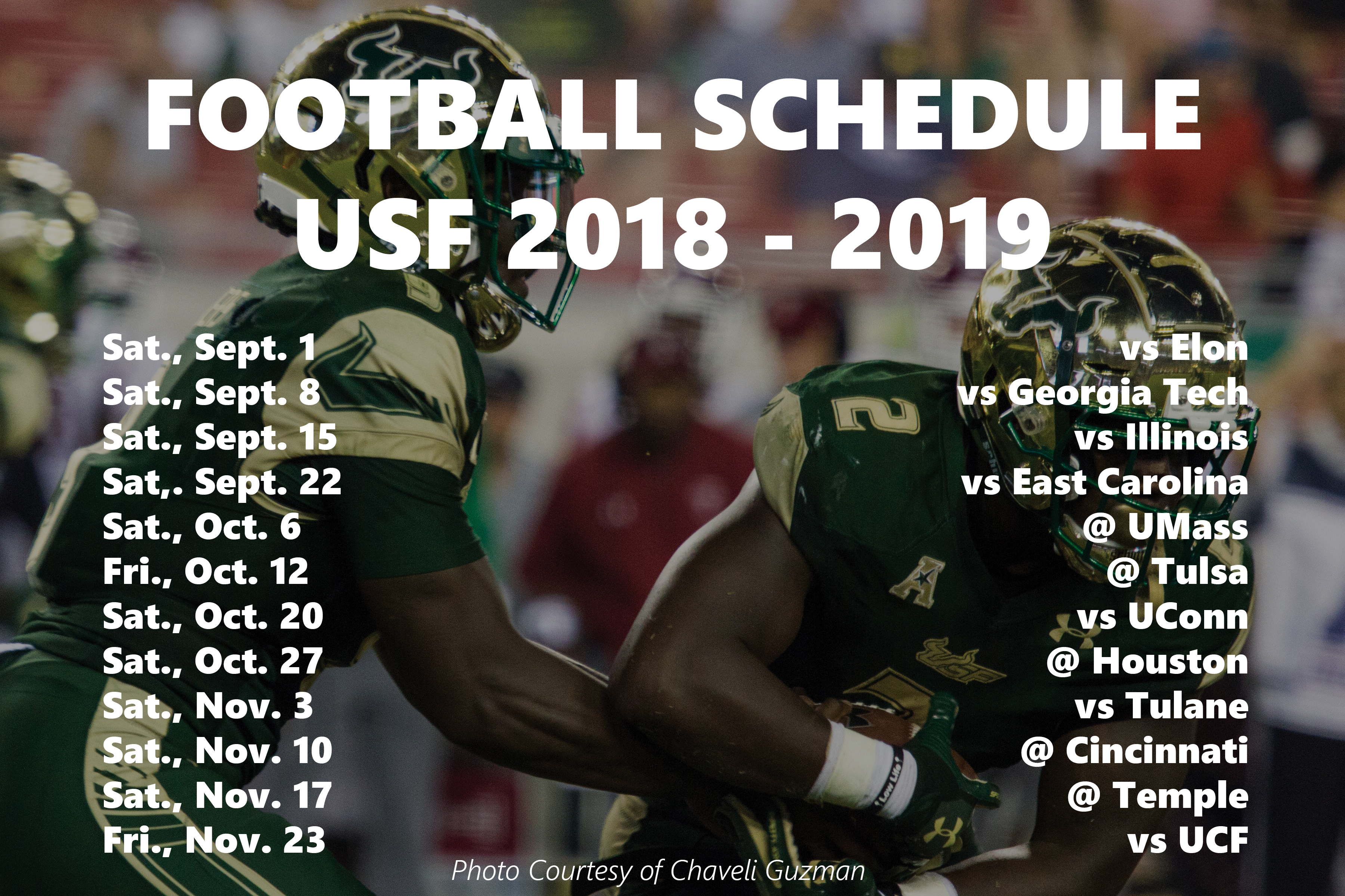 Usf Schedule 2019 USF releases football schedule – The Crow's Nest